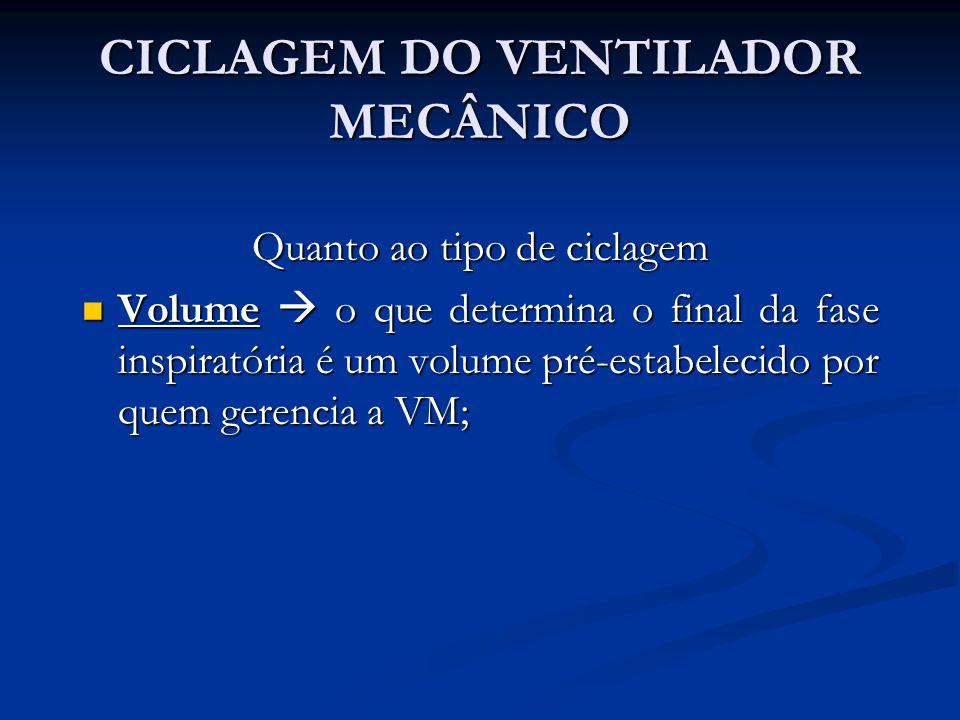 CICLAGEM DO VENTILADOR MECÂNICO Quanto ao tipo de ciclagem Volume o que determina o final da fase inspiratória é um volume pré-estabelecido por quem g