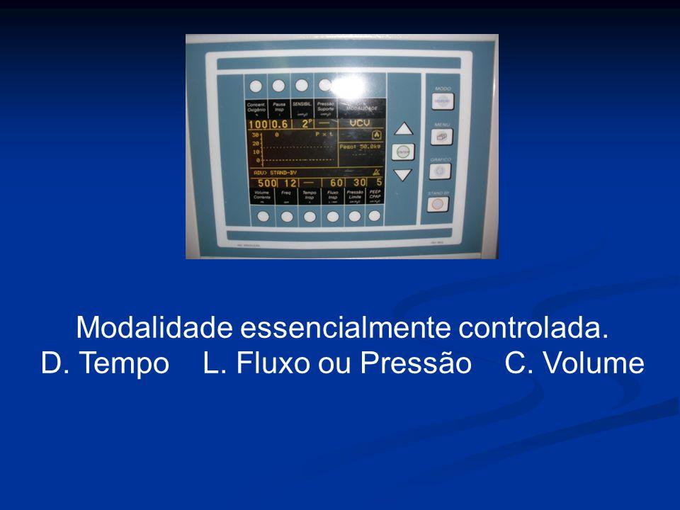 Modalidade essencialmente controlada. D. Tempo L. Fluxo ou Pressão C. Volume