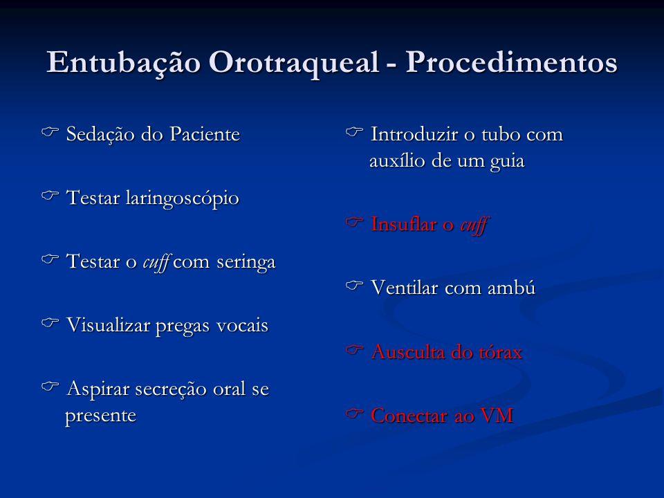 Entubação Orotraqueal - Procedimentos Sedação do Paciente Sedação do Paciente Testar laringoscópio Testar laringoscópio Testar o cuff com seringa Test