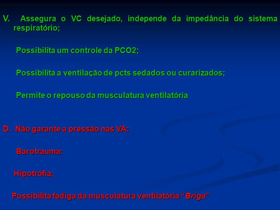 V. Assegura o VC desejado, independe da impedância do sistema respiratório; Possibilita um controle da PCO2; Possibilita um controle da PCO2; Possibil