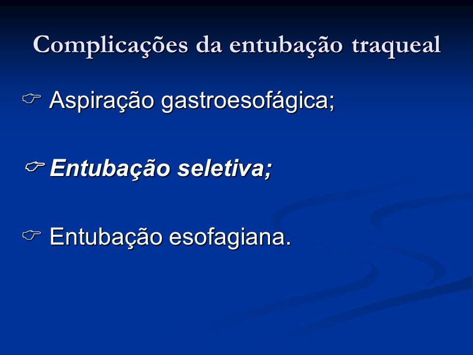 Complicações da entubação traqueal Aspiração gastroesofágica; Aspiração gastroesofágica; Entubação seletiva; Entubação seletiva; Entubação esofagiana.