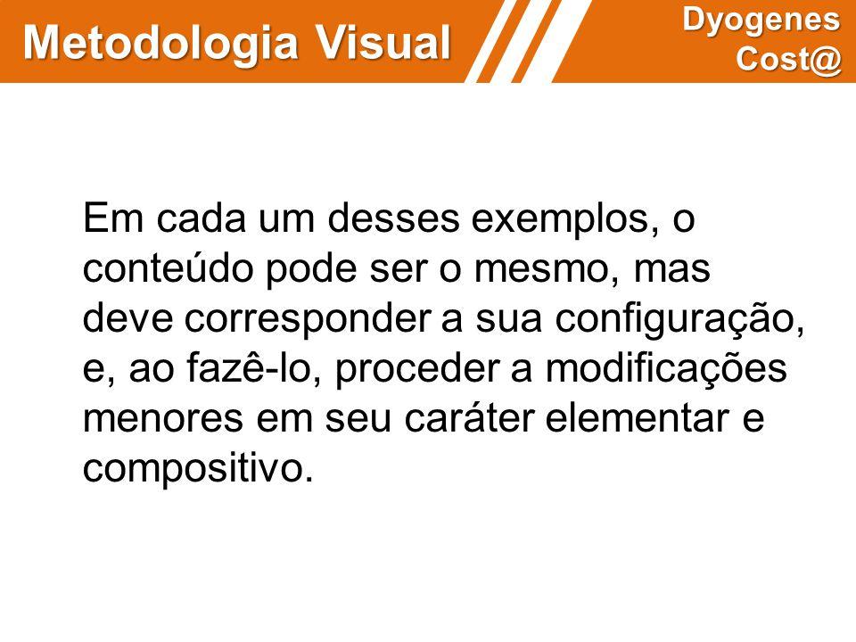 Metodologia Visual Dyogenes Cost@ Em cada um desses exemplos, o conteúdo pode ser o mesmo, mas deve corresponder a sua configuração, e, ao fazê-lo, pr