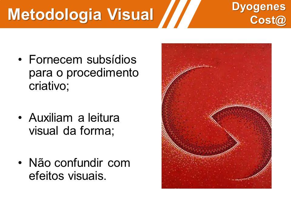 Metodologia Visual Dyogenes Cost@ Fornecem subsídios para o procedimento criativo; Auxiliam a leitura visual da forma; Não confundir com efeitos visua