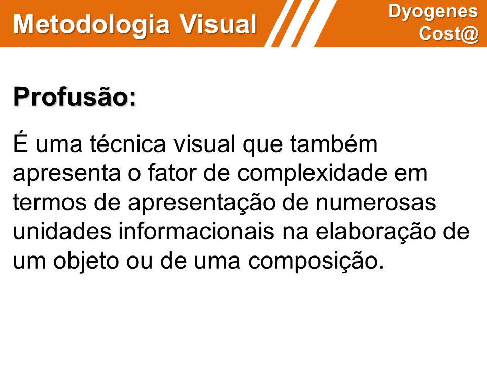 Metodologia Visual Dyogenes Cost@ Profusão: É uma técnica visual que também apresenta o fator de complexidade em termos de apresentação de numerosas u