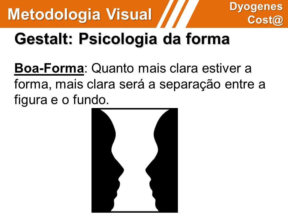 Gestalt: Psicologia da forma Boa-Forma: Quanto mais clara estiver a forma, mais clara será a separação entre a figura e o fundo. Metodologia Visual Dy