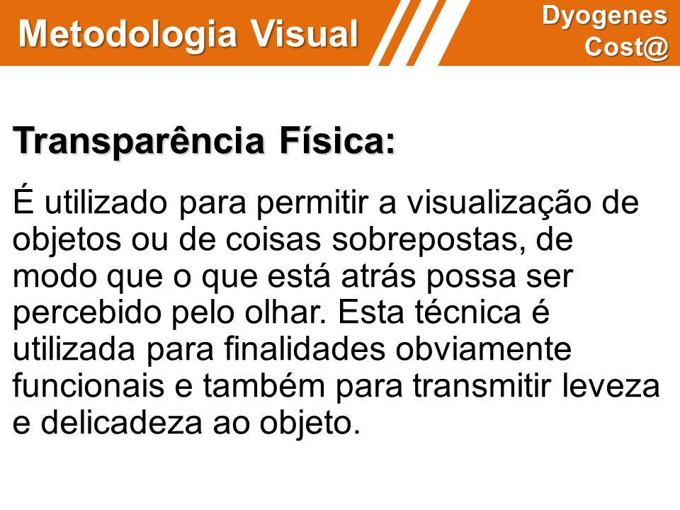 Metodologia Visual Dyogenes Cost@ Transparência Física: É utilizado para permitir a visualização de objetos ou de coisas sobrepostas, de modo que o qu