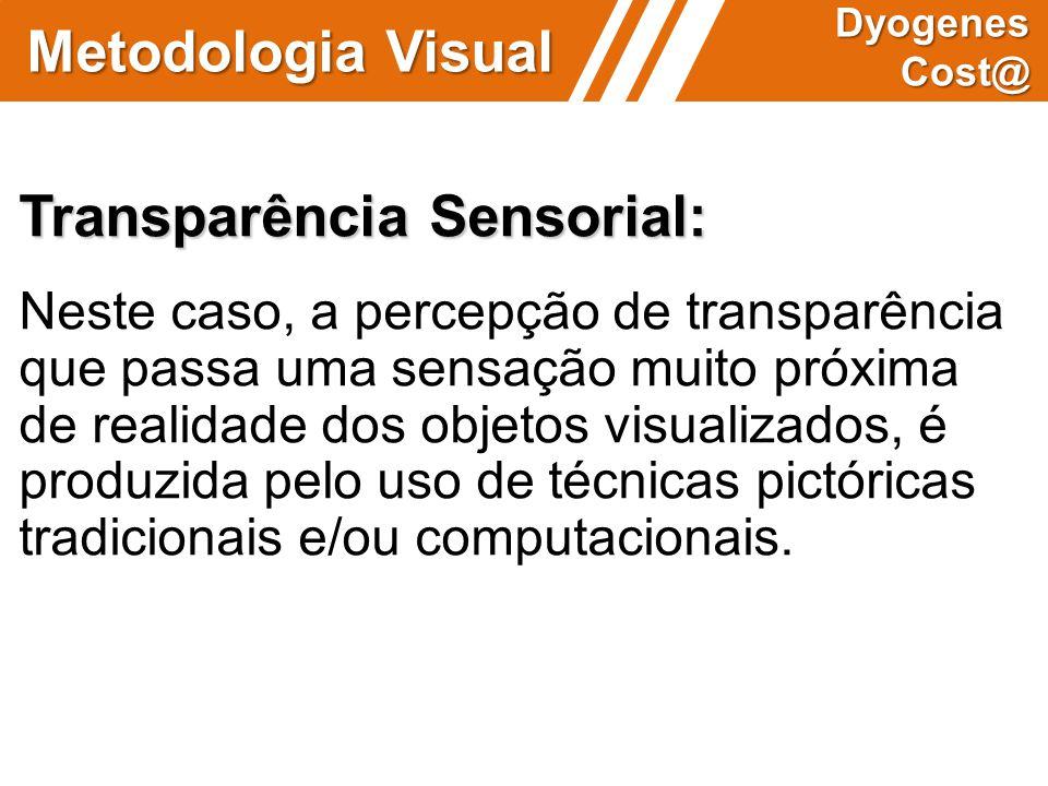 Metodologia Visual Dyogenes Cost@ Transparência Sensorial: Neste caso, a percepção de transparência que passa uma sensação muito próxima de realidade