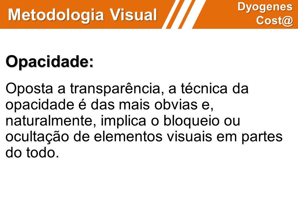 Metodologia Visual Dyogenes Cost@ Opacidade: Oposta a transparência, a técnica da opacidade é das mais obvias e, naturalmente, implica o bloqueio ou o
