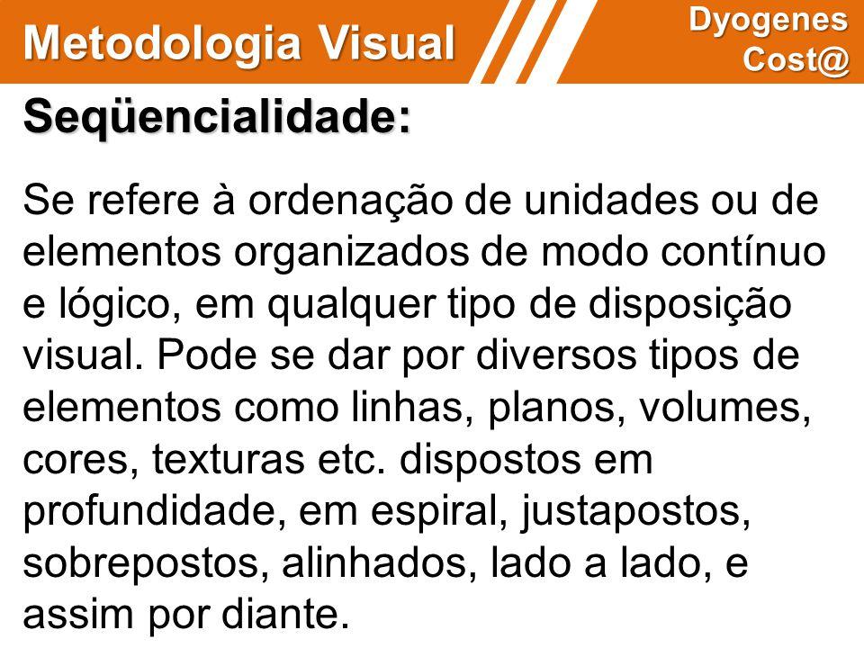 Metodologia Visual Dyogenes Cost@ Seqüencialidade: Se refere à ordenação de unidades ou de elementos organizados de modo contínuo e lógico, em qualque