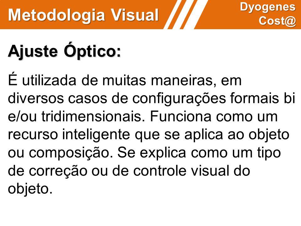 Metodologia Visual Dyogenes Cost@ Ajuste Óptico: É utilizada de muitas maneiras, em diversos casos de configurações formais bi e/ou tridimensionais. F
