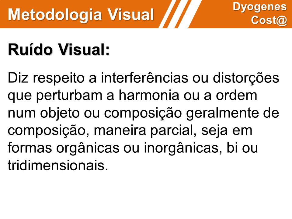 Metodologia Visual Dyogenes Cost@ Ruído Visual: Diz respeito a interferências ou distorções que perturbam a harmonia ou a ordem num objeto ou composiç