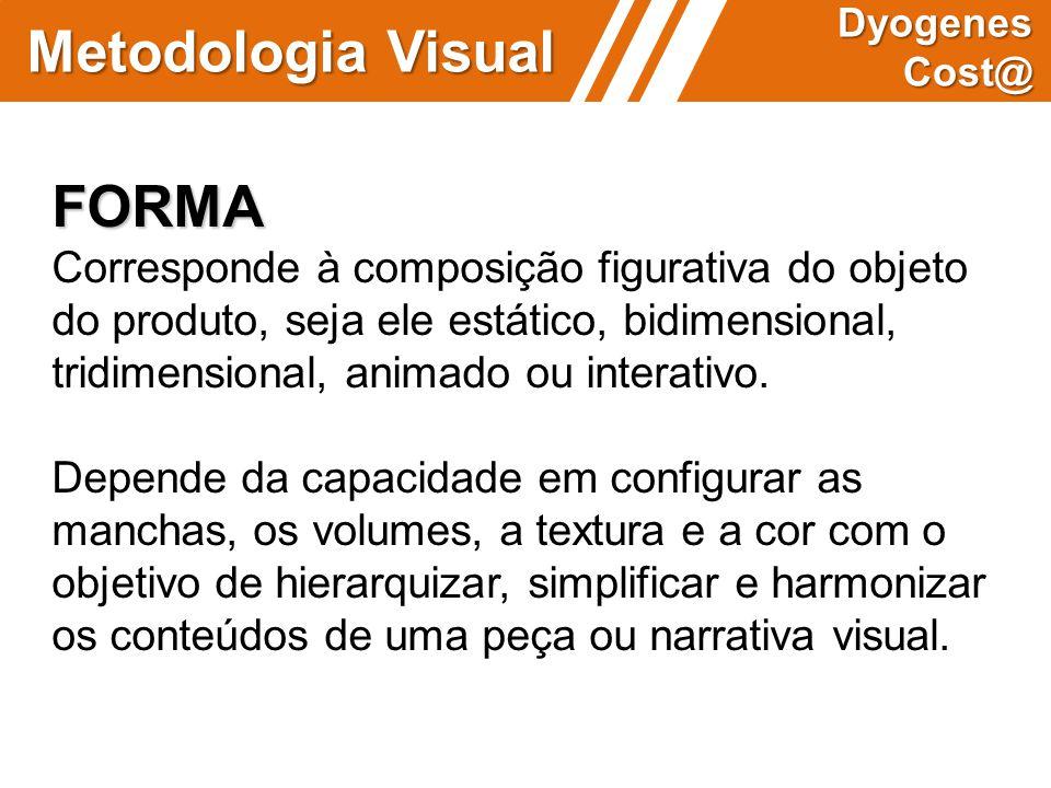 FORMA Corresponde à composição figurativa do objeto do produto, seja ele estático, bidimensional, tridimensional, animado ou interativo. Depende da ca