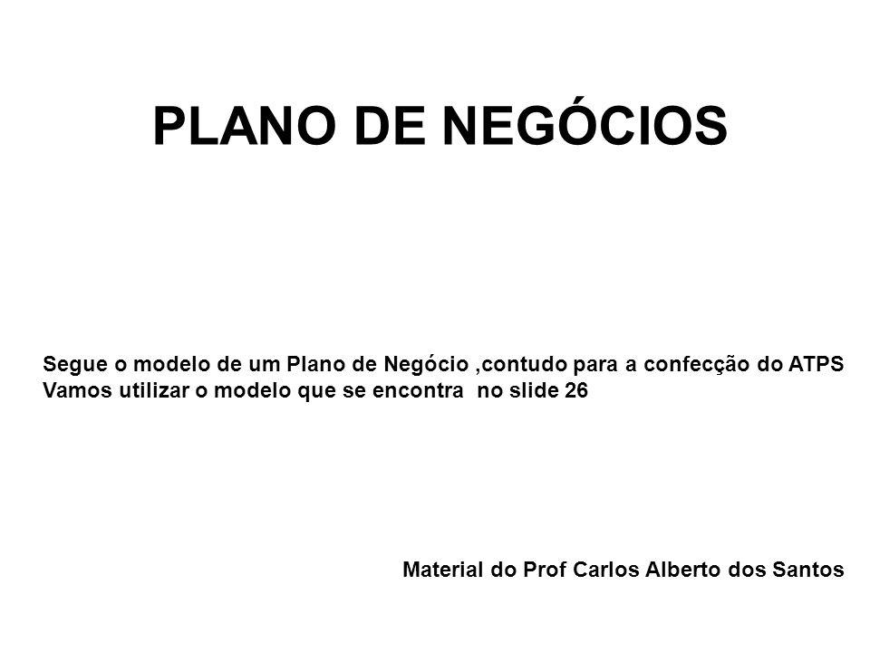 PLANO DE NEGÓCIOS Material do Prof Carlos Alberto dos Santos Segue o modelo de um Plano de Negócio,contudo para a confecção do ATPS Vamos utilizar o m