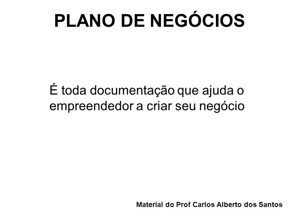 PLANO DE NEGÓCIOS Material do Prof Carlos Alberto dos Santos É toda documentação que ajuda o empreendedor a criar seu negócio