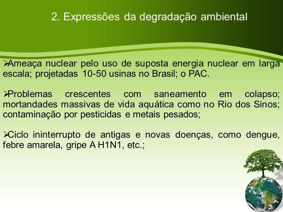 Ameaça nuclear pelo uso de suposta energia nuclear em larga escala; projetadas 10-50 usinas no Brasil; o PAC.