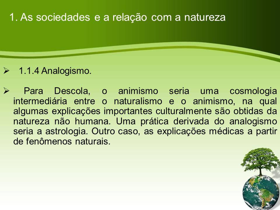 1.As sociedades e a relação com a natureza 1.1.4 Analogismo.