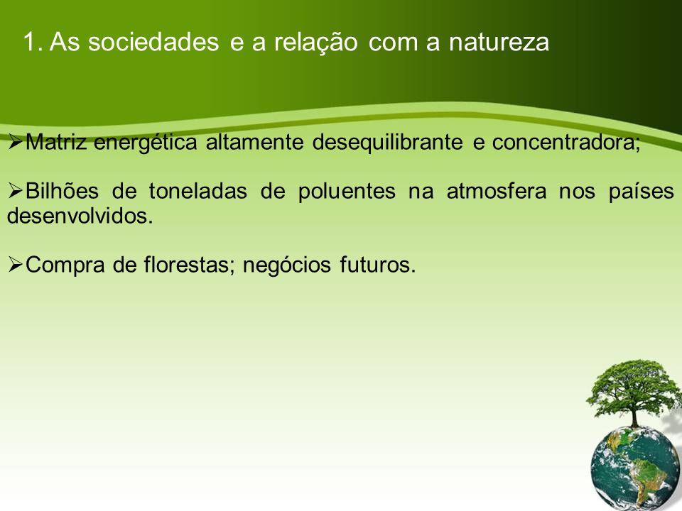 Matriz energética altamente desequilibrante e concentradora; Bilhões de toneladas de poluentes na atmosfera nos países desenvolvidos.