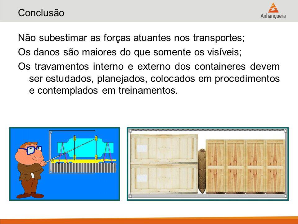 Conclusão Não subestimar as forças atuantes nos transportes; Os danos são maiores do que somente os visíveis; Os travamentos interno e externo dos con