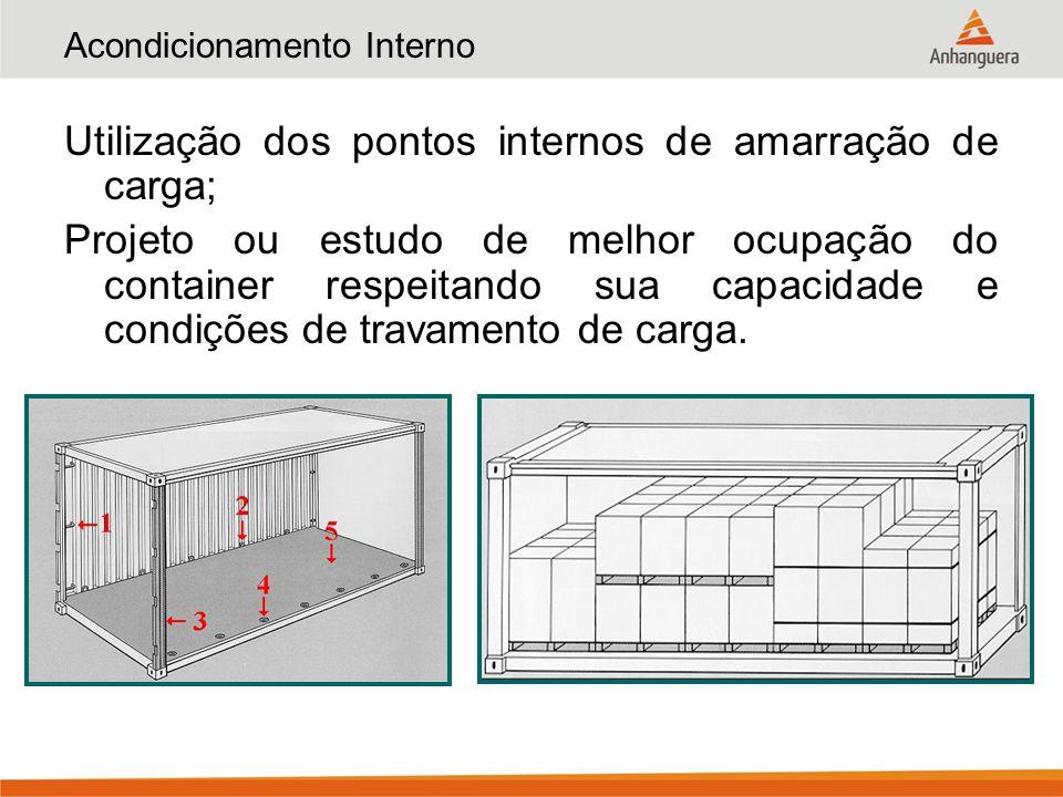 Distribuição de Cargas Pesadas Reduzir a possibilidade de danos; Uso de apoio longitudinal para apoio em maior quantidade de vigas da estrutura inferior do container; Cuidados especiais com o travamento da carga.