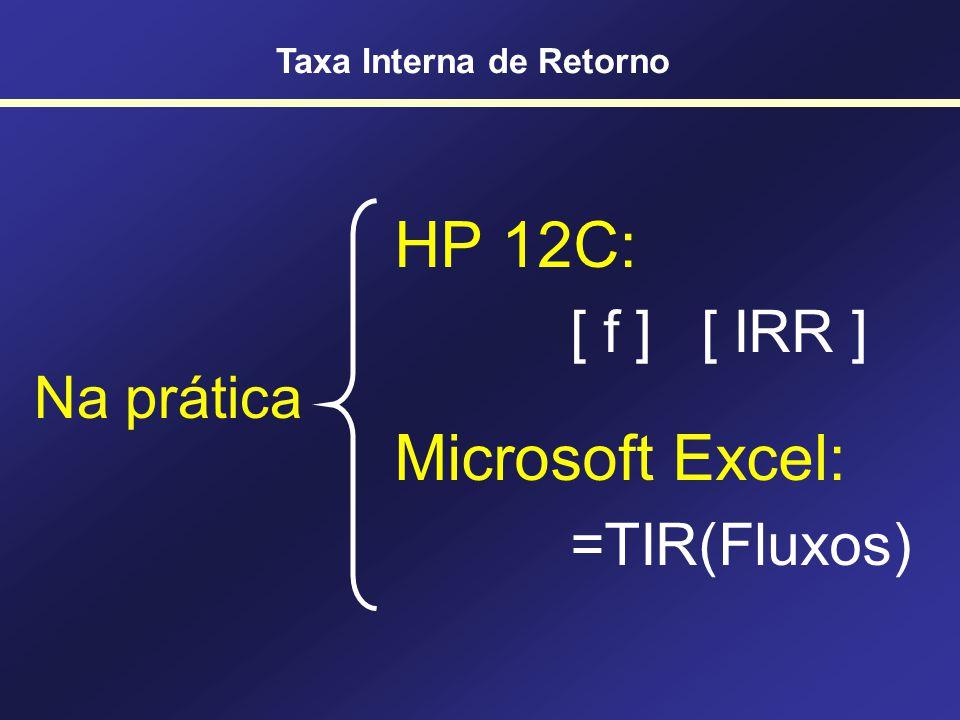 Cálculo Matemático da TIR Solução polinomial … VPL = 0, K = TIR TIR é raiz do polinômio … Taxa Interna de Retorno