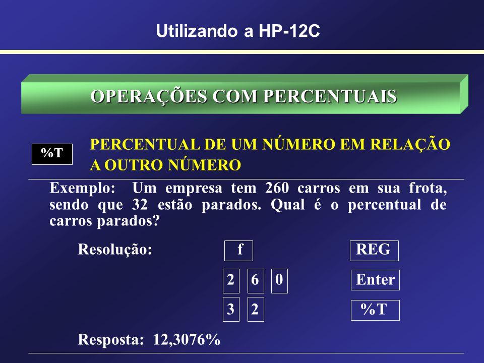 OPERAÇÕES COM PERCENTUAIS DIFERENÇA PERCENTUAL ENTRE NÚMEROS % Exemplo: Um lote de ações foi comprado por $1300,00 e vendido por 3300,00. Qual foi o g