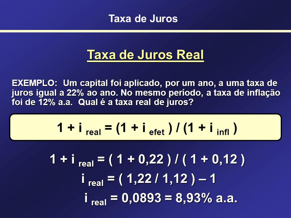 Taxa de Juros Fórmula empregada para descontar a inflação de uma taxa de juros 1 + i real = (1 + i efet ) / (1 + i infl ) i real = Taxa de Juros Real