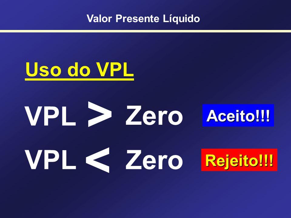 Calculando VPL na HP12C AnoFC 0-500 1200 2250 3400 [f] [Reg] 500 [CHS] [g] [CF 0 ] 200 [g] [CF j ] 250 [g] [CF j ] 400 [g] [CF j ] 10 [i] [f] [NPV] $1