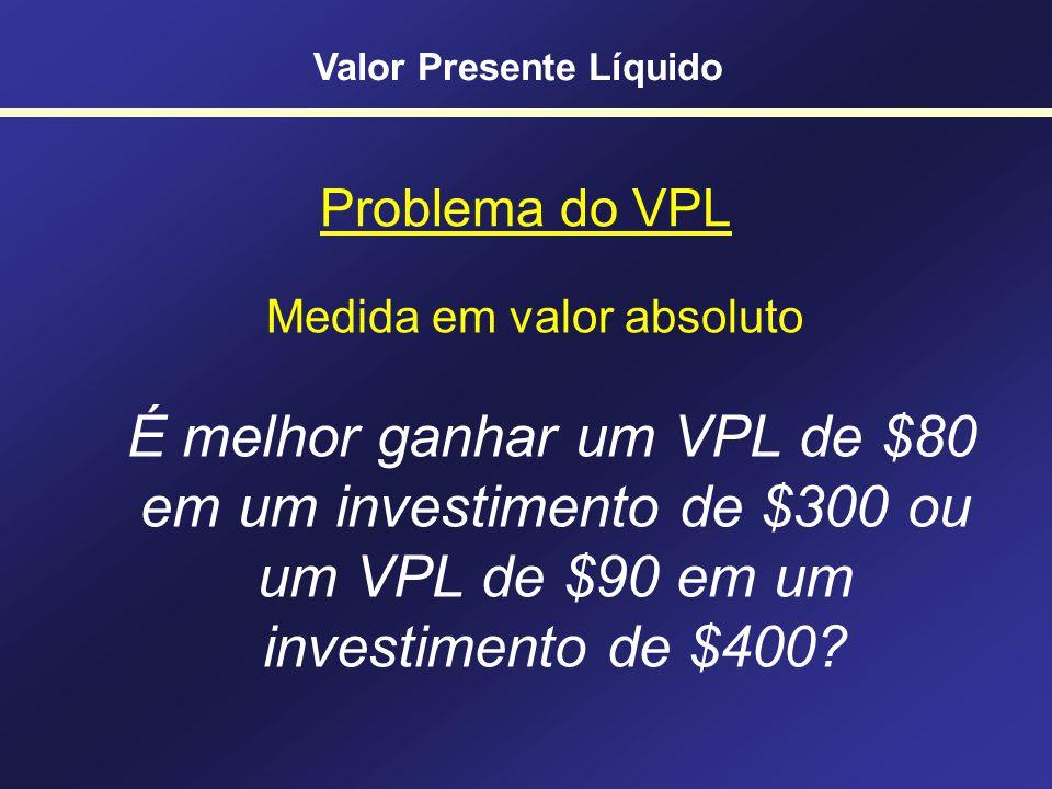 Uma variante do VPL Índice de Lucratividade Valor Presente Líquido