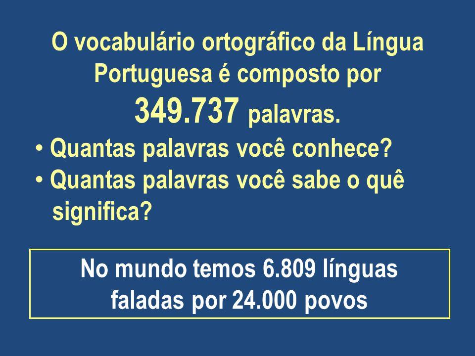 O vocabulário ortográfico da Língua Portuguesa é composto por 349.737 palavras. Quantas palavras você conhece? Quantas palavras você sabe o quê signif