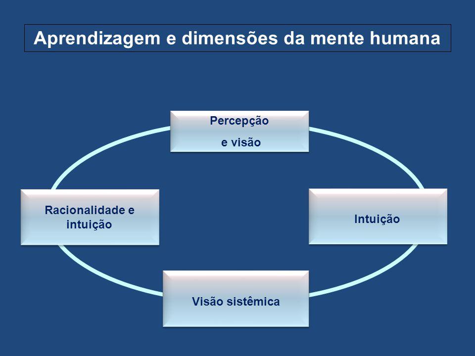 Aprendizagem e dimensões da mente humana Percepção e visão Percepção e visão Visão sistêmica Intuição Racionalidade e intuição