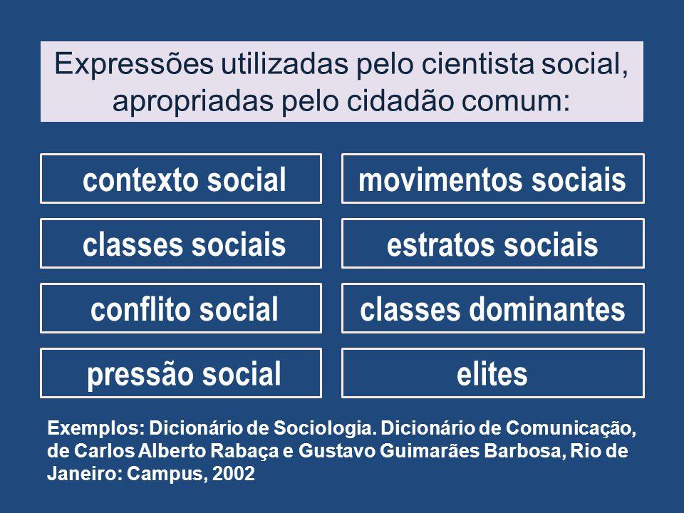Expressões utilizadas pelo cientista social, apropriadas pelo cidadão comum: contexto socialmovimentos sociais classes sociais estratos sociais confli