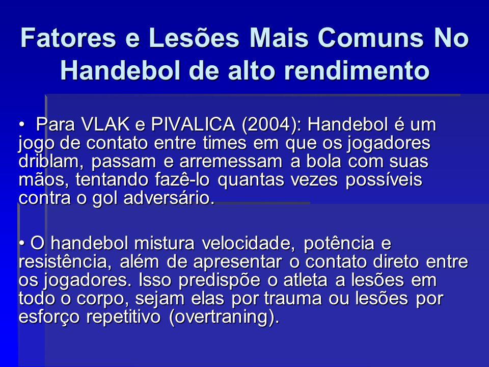 Para VLAK e PIVALICA (2004): Handebol é um jogo de contato entre times em que os jogadores driblam, passam e arremessam a bola com suas mãos, tentando fazê-lo quantas vezes possíveis contra o gol adversário.
