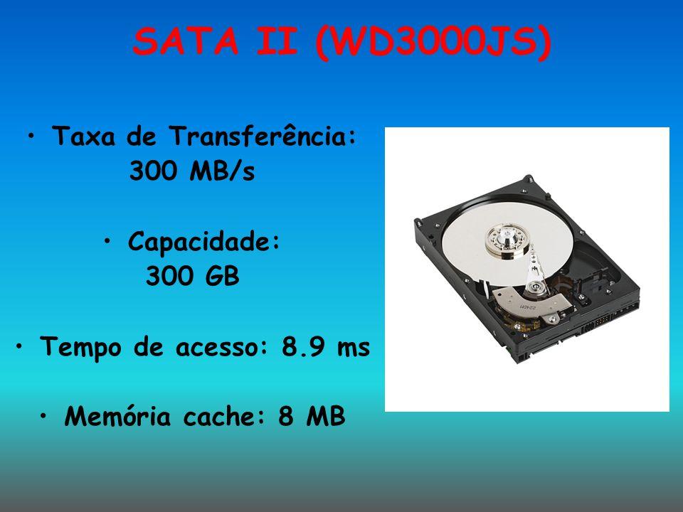 SATA II (WD3000JS) Taxa de Transferência: 300 MB/s Capacidade: 300 GB Tempo de acesso: 8.9 ms Memória cache: 8 MB
