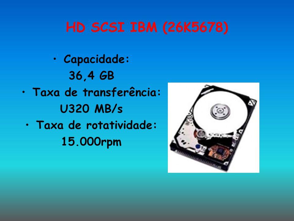 HD SCSI IBM (26K5678) Capacidade: 36,4 GB Taxa de transferência: U320 MB/s Taxa de rotatividade: 15.000rpm