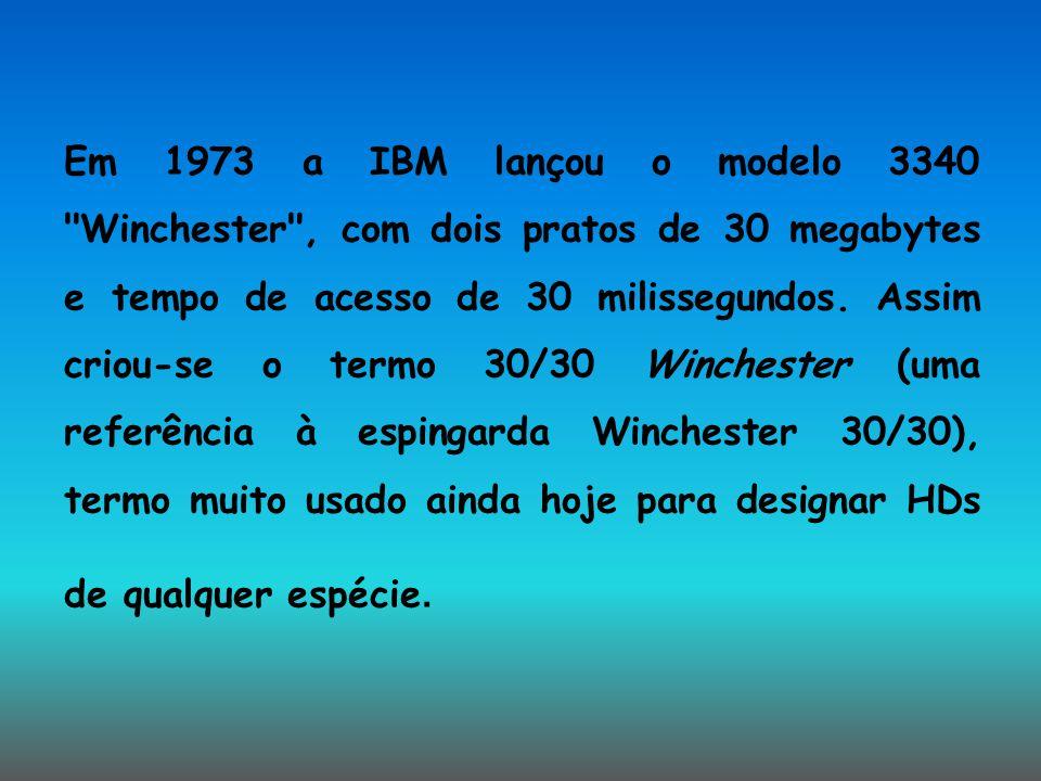 Em 1973 a IBM lançou o modelo 3340