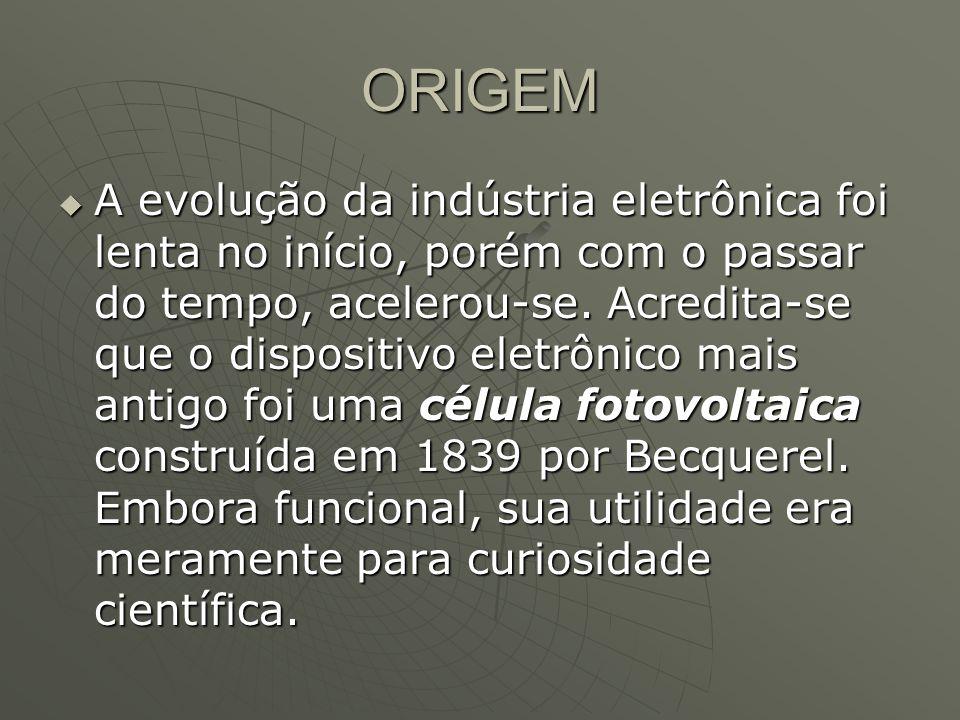 ORIGEM A evolução da indústria eletrônica foi lenta no início, porém com o passar do tempo, acelerou-se. Acredita-se que o dispositivo eletrônico mais