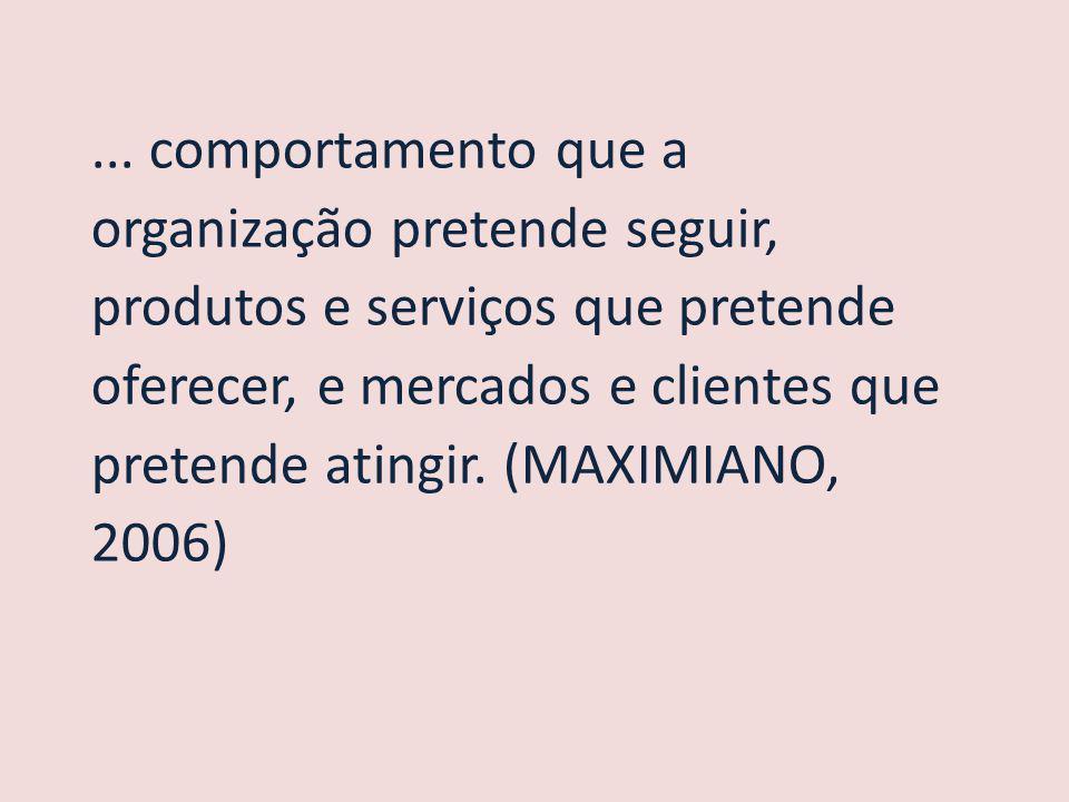 ... comportamento que a organização pretende seguir, produtos e serviços que pretende oferecer, e mercados e clientes que pretende atingir. (MAXIMIANO