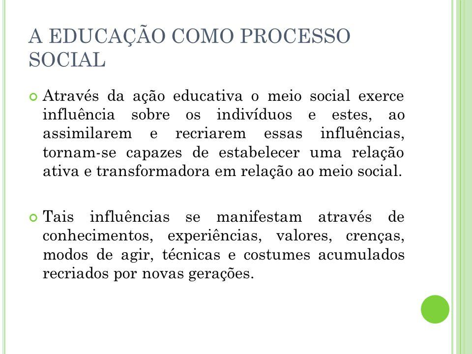 A EDUCAÇÃO COMO PROCESSO SOCIAL Através da ação educativa o meio social exerce influência sobre os indivíduos e estes, ao assimilarem e recriarem essa