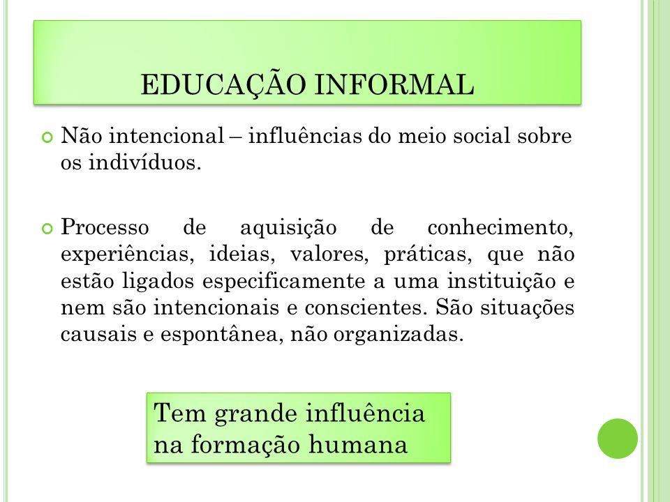 EDUCAÇÃO INFORMAL Não intencional – influências do meio social sobre os indivíduos. Processo de aquisição de conhecimento, experiências, ideias, valor