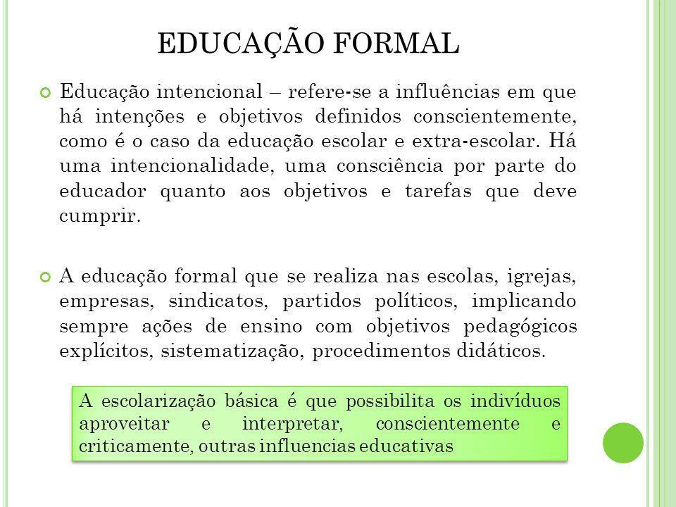 EDUCAÇÃO FORMAL Educação intencional – refere-se a influências em que há intenções e objetivos definidos conscientemente, como é o caso da educação es