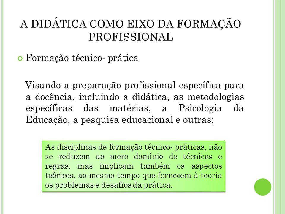 Formação técnico- prática Visando a preparação profissional específica para a docência, incluindo a didática, as metodologias específicas das matérias