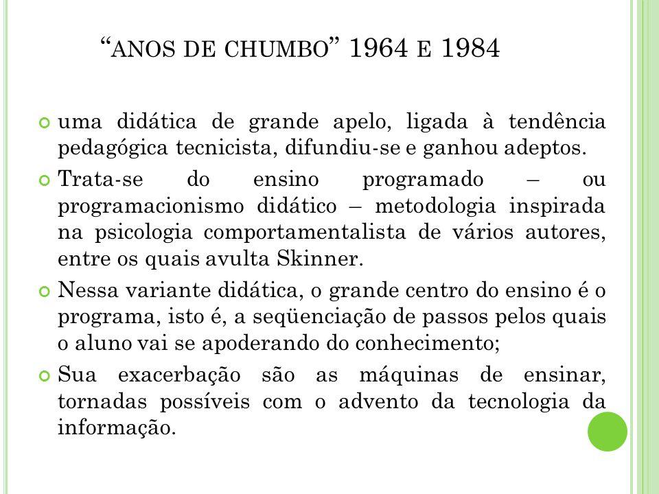 ANOS DE CHUMBO 1964 E 1984 uma didática de grande apelo, ligada à tendência pedagógica tecnicista, difundiu-se e ganhou adeptos. Trata-se do ensino pr