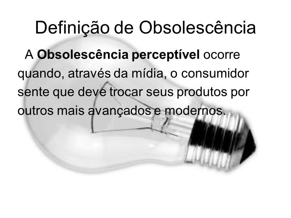 Definição de Obsolescência A Obsolescência perceptível ocorre quando, através da mídia, o consumidor sente que deve trocar seus produtos por outros ma