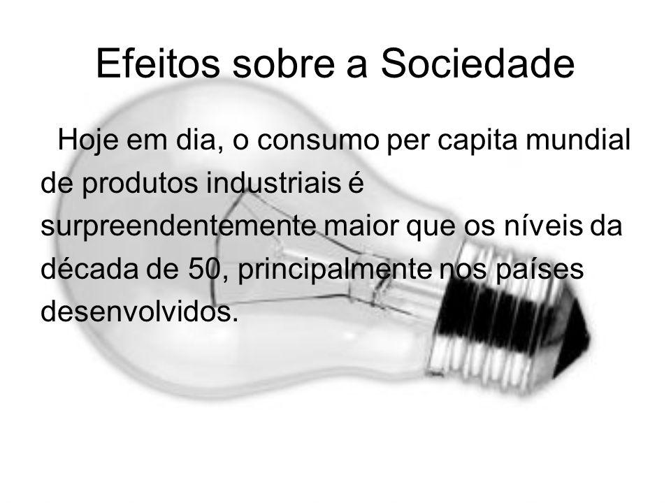 Efeitos sobre a Sociedade Hoje em dia, o consumo per capita mundial de produtos industriais é surpreendentemente maior que os níveis da década de 50,