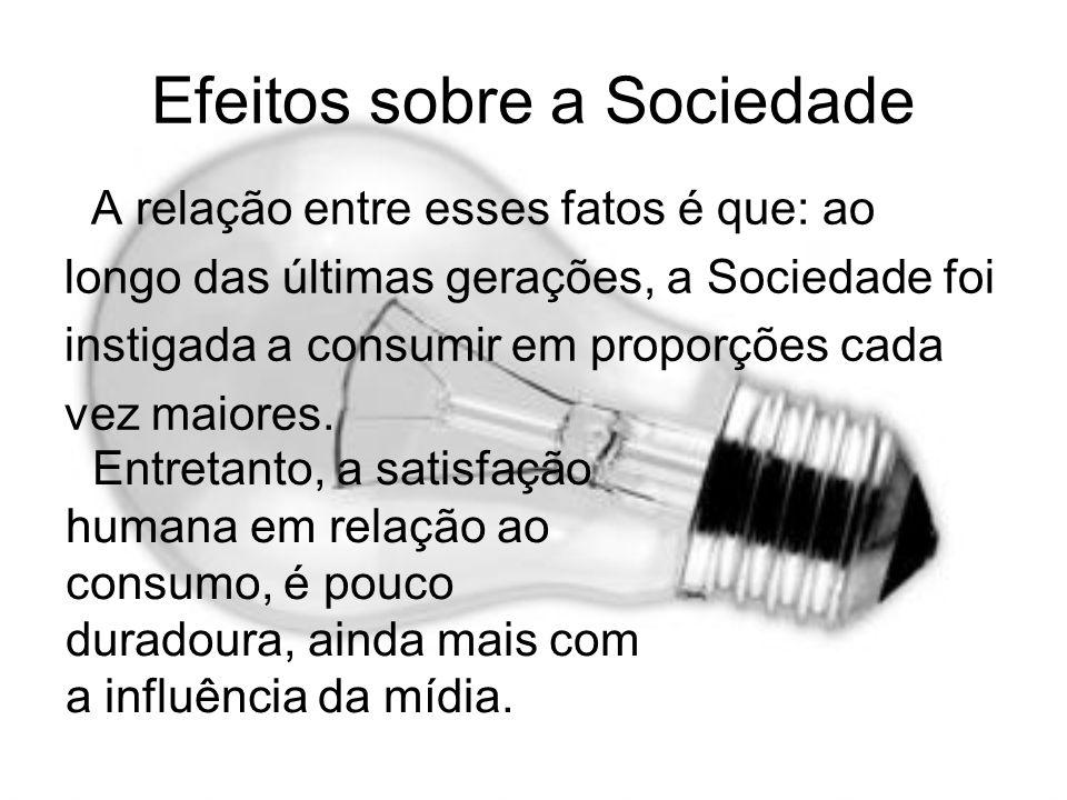 Efeitos sobre a Sociedade A relação entre esses fatos é que: ao longo das últimas gerações, a Sociedade foi instigada a consumir em proporções cada ve