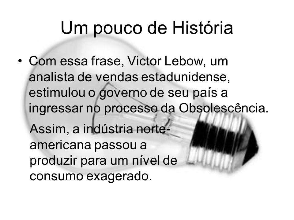 Um pouco de História Com essa frase, Victor Lebow, um analista de vendas estadunidense, estimulou o governo de seu país a ingressar no processo da Obs