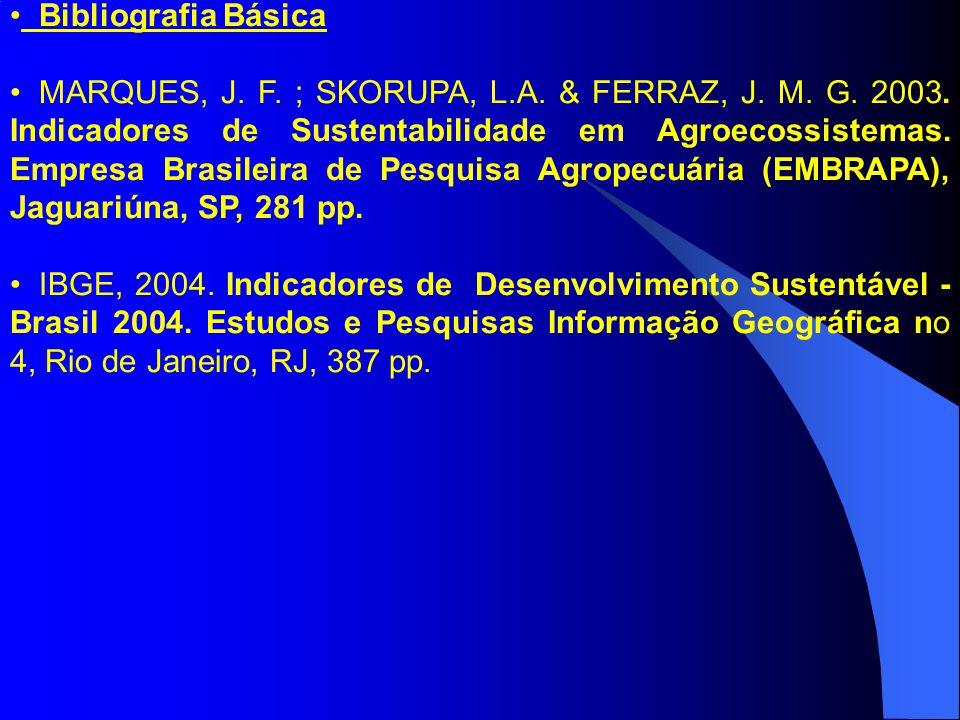 Bibliografia Básica MARQUES, J.F. ; SKORUPA, L.A.