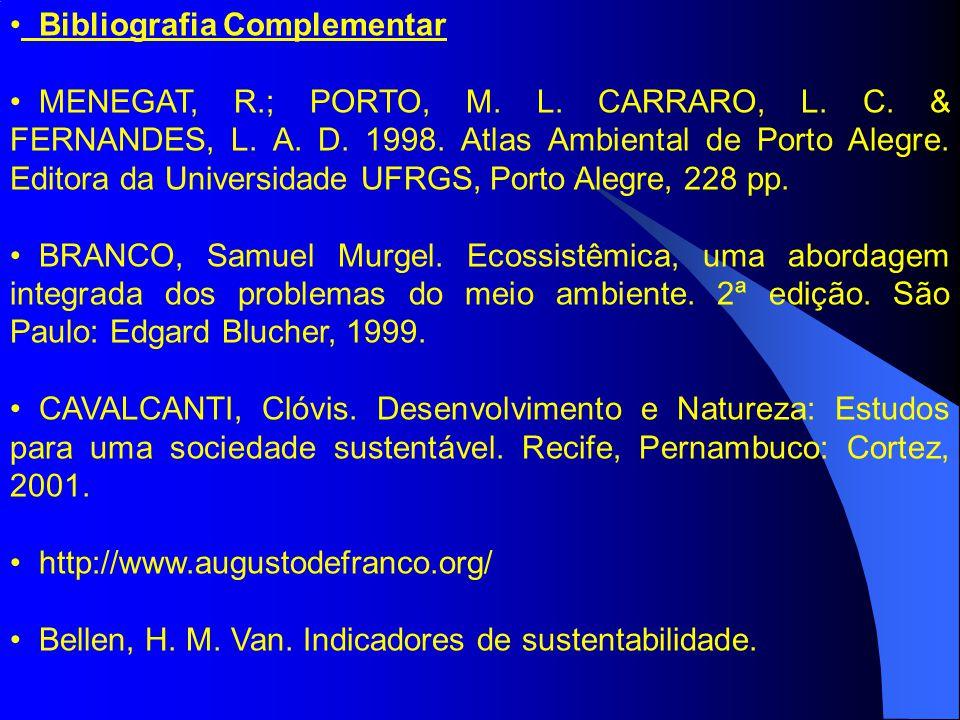 Bibliografia Complementar MENEGAT, R.; PORTO, M.L.