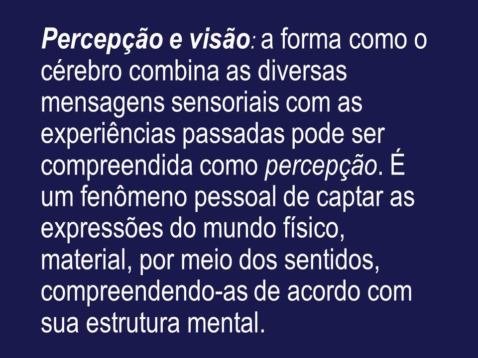 Percepção e visão : a forma como o cérebro combina as diversas mensagens sensoriais com as experiências passadas pode ser compreendida como percepção.