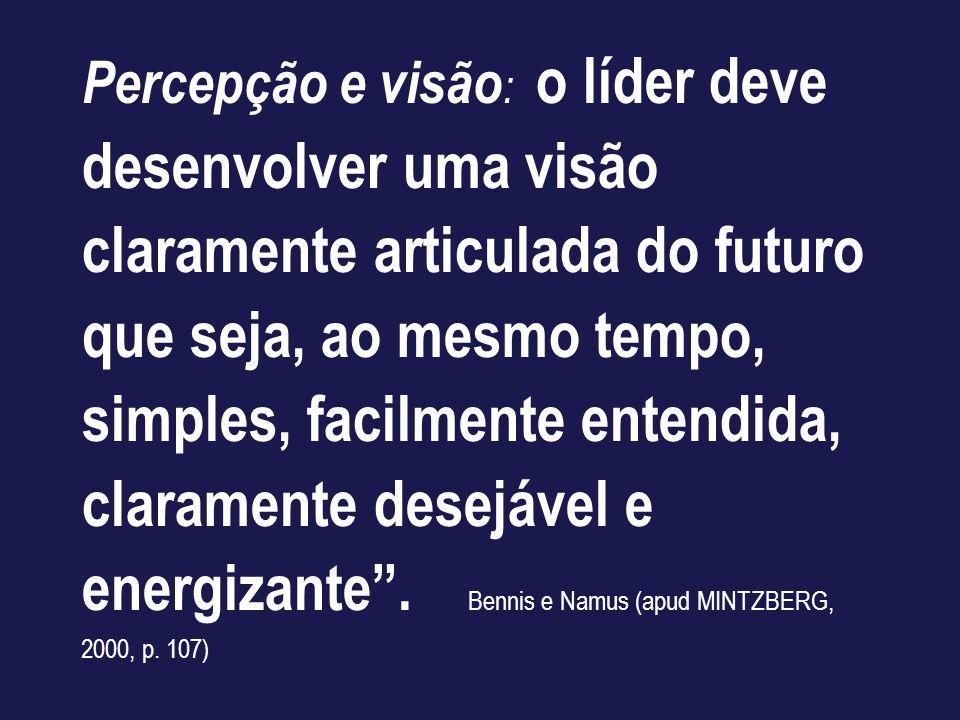 Percepção e visão : o líder deve desenvolver uma visão claramente articulada do futuro que seja, ao mesmo tempo, simples, facilmente entendida, claram